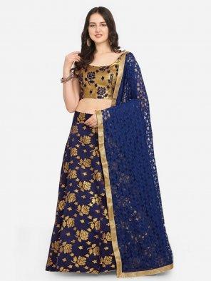 navy blue jacquard fabric gold printed work festival