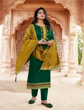 green jam silk fabric embroidery and khatli work work festival