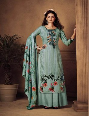 mint pure pashmina  fabric print with embroidery work festival