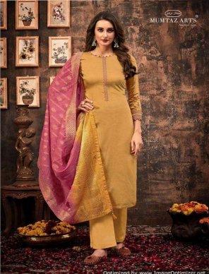 honey yellow pure jam silk fabric jari embroidery work festival