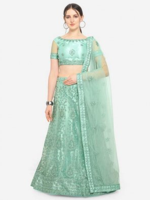 mint net fabric zari embroidery work festival