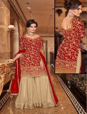 red net satoon fabric embroidery work wedding