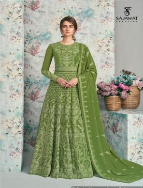 light green heavy faux geourgette fabric embroidery work wedding