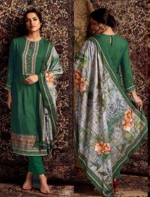 stone green pashmina  fabric digital print with mirror work work festival