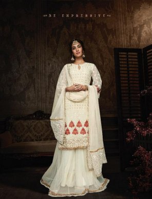 off white georgette fabric embroidery work wedding