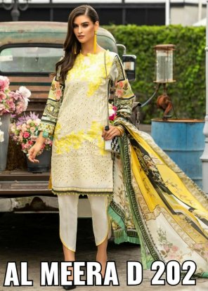 cream pure lawn fabric embroidery work festival