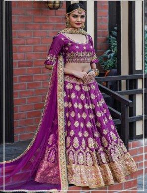 magenta silk fabric resham & zari embroidery work bridal