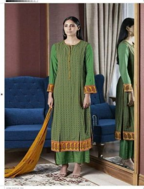 green cotton fabric embroidery work casual