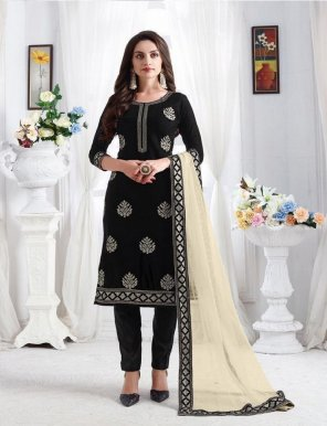 black georgette fabric sequence embroidery work festival