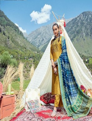 mustard yellow neeta silk fabric embroidery work casual