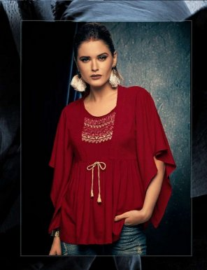 rubby red heavy rayon fabric embroidery touch up work party