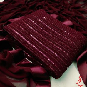 rubby red georgette fabric sequence work party