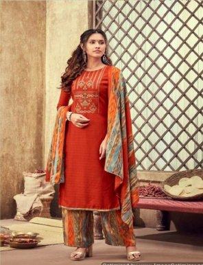 fire orange pure pashmina fabric kashmiri embroidery work festival