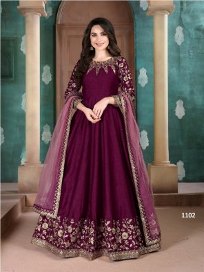 magenta adda silk fabric embroidery work wedding
