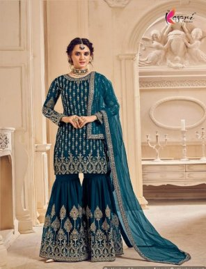 peacock georgette fabric embroidery work wedding