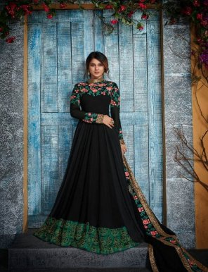 black real georgette fabric heavy handwork work party
