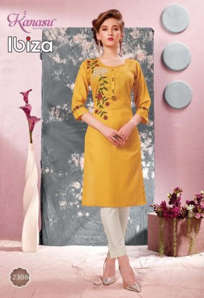 yellow rayon flex fabric embroidery work casual