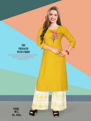 yellow heavy rayon fabric embroidery work casual