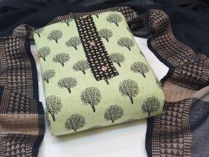 pista khadi cotton fabric printed work casual