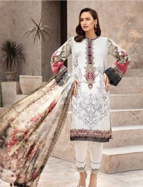 white pure cotton  fabric embroidery work festival