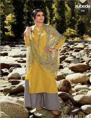 mustard yellow pashmina fabric digital printed work festival