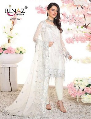 white fox georgette fabric heavy embroidery work wedding