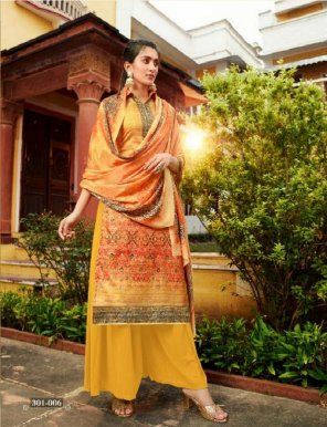 yellow kollam silk fabric digital printed work casual