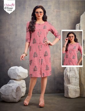 punch pink rayon fabric printed work casual
