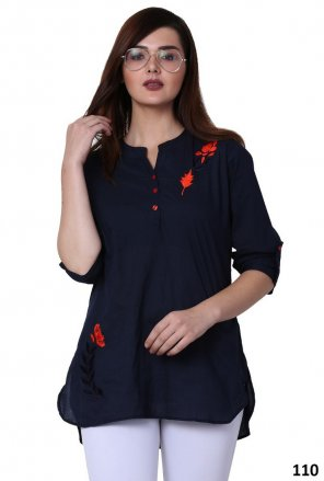navy blue rayon crape  fabric embroidery work casual