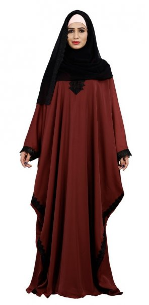 rust nida fabric lace with hijab work festival