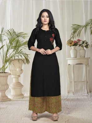 black heavy rayon fabric embroidery work casual