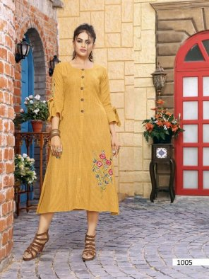 yellow rayon fabric touch up  work casual