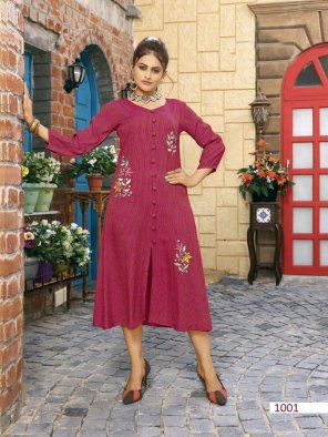 magenta rayon fabric touch up  work casual