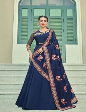 navy blue heavy soft silk fabric heavy embroidery work party