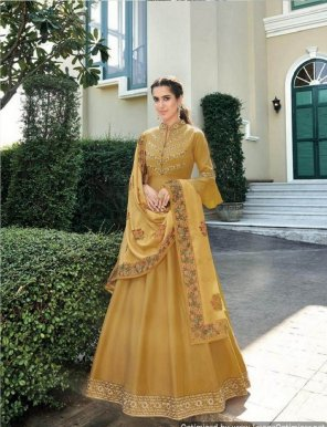 mustard yellow heavy soft silk fabric heavy embroidery work party