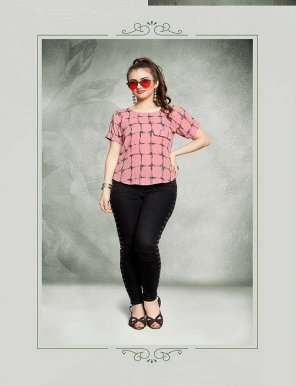 pink imported  fabric print work casual