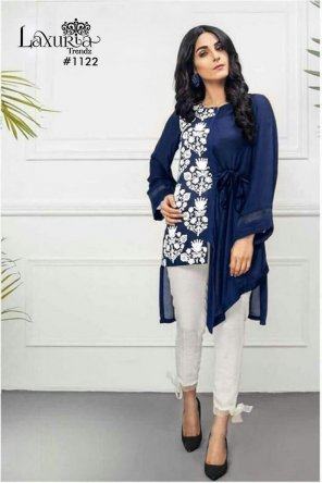 blue silk fabric resham embroidery  work casual