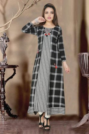 black checks rayon fabric printed work casual