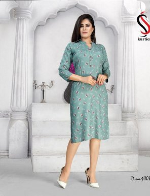olive rayon fabric printed work casual