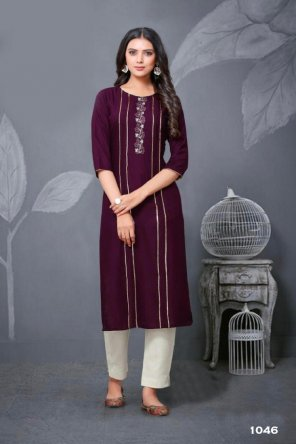 magenta rayon fabric embroidery work casual