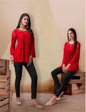 red heavy rayon fabric embroidery work casual