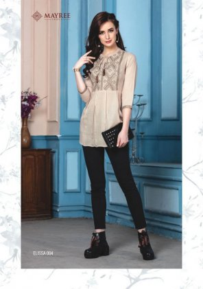 cream rayon fabric embroidery work casual