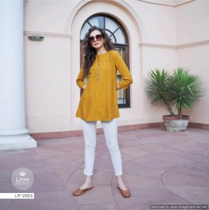 mustard yellow flex rayon fabric embroidery work casual