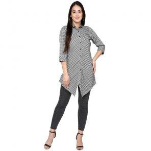 light grey yarn dyed rayon fabric print work casual