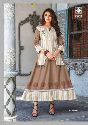coffee cotton with rayon fabric embroidery work fastive