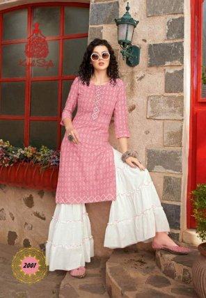 pink rayon fabric print work festival
