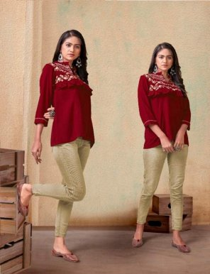 maroon heavy rayon fabric embroidery work casual