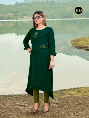 green rayon fabric fancy embroidery work casual