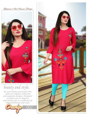 nion pink rayon fabric embroidery work casual