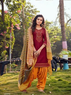 maroon jam silk fabric embroidery and hand work work festival